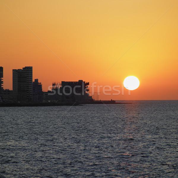 закат Гавана Куба здании город свет Сток-фото © phbcz