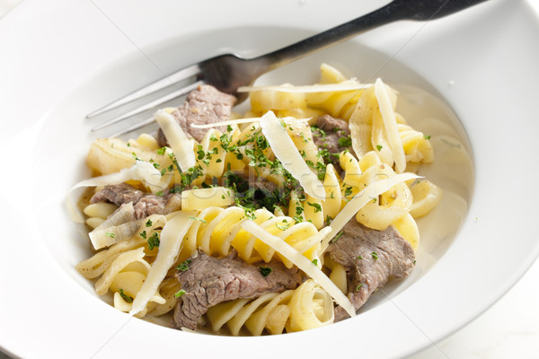 pasta with beef meat Stock photo © phbcz