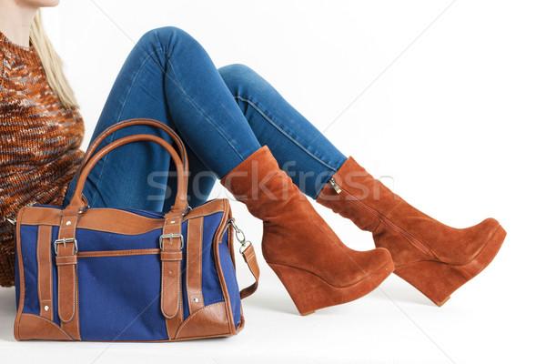detail of sitting woman wearing fashionable platform brown shoes Stock photo © phbcz