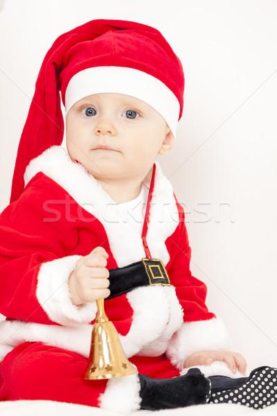 Kleines Mädchen Glocke Kind kid Weihnachten Stock foto © phbcz