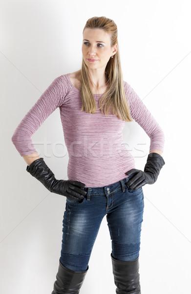 肖像 立って 女性 着用 ジーンズ 黒 ストックフォト © phbcz