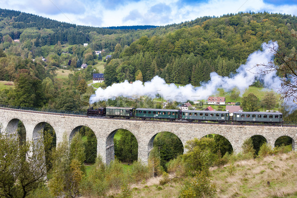 Stockfoto: Stoom · trein · vallei · Tsjechische · Republiek · rook · brug