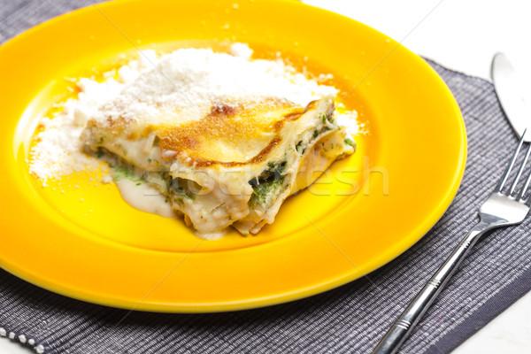 Lasagne zalm spinazie interieur vork maaltijd Stockfoto © phbcz