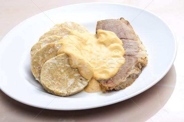 fake pork tenderloin with dumplings Stock photo © phbcz