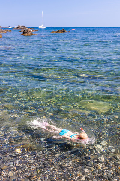 little girl snorkeling in Mediterranean Sea Stock photo © phbcz