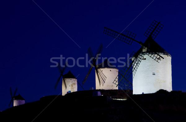 ストックフォト: 1泊 · スペイン · 旅行 · 暗い · 風車 · ミル