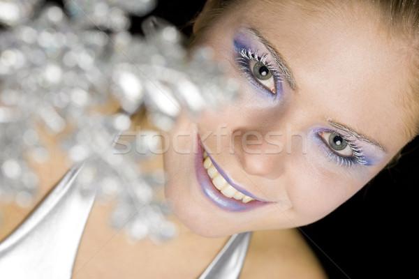 portrait of woman with snowflake Stock photo © phbcz