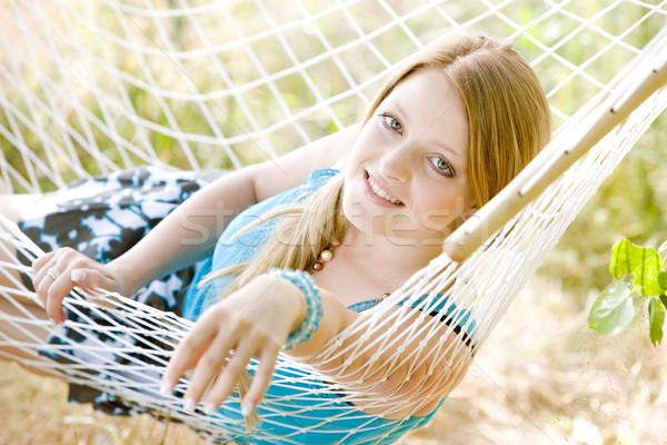 Retrato mujer hamaca jóvenes solo Foto stock © phbcz
