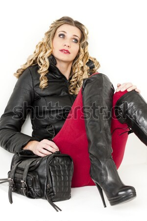portrait of young woman wearing extravagant clothes Stock photo © phbcz
