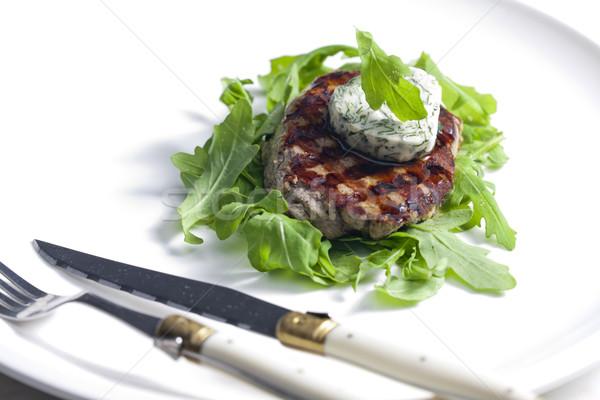 гриль бифштекс травяной масло пластина ножом Сток-фото © phbcz