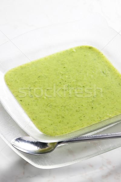 Brokoli karnabahar çorba plaka kaşık Stok fotoğraf © phbcz