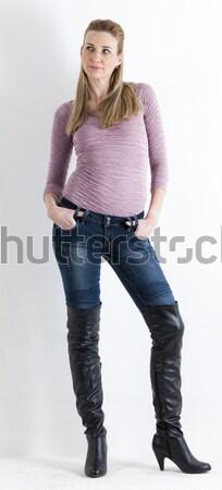 Stockfoto: Permanente · vrouw · jeans · zwarte · laarzen