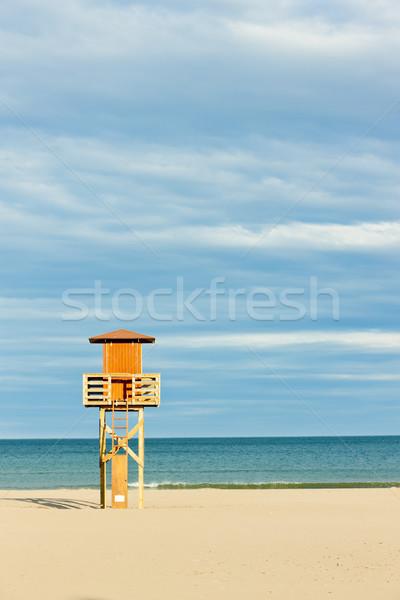 Ratownik kabiny plaży morza podróży Europie Zdjęcia stock © phbcz