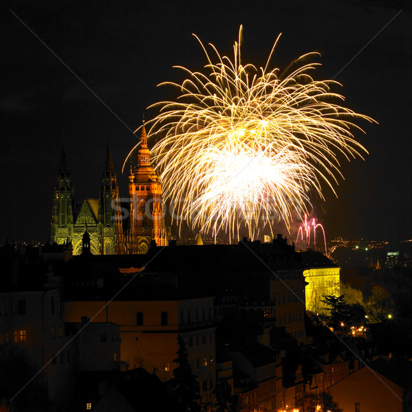 New Year's fireworks, Hradcany, Prague, Czech Republic Stock photo © phbcz
