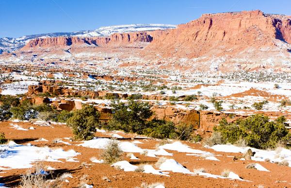 Park Utah USA tájkép hó kövek Stock fotó © phbcz
