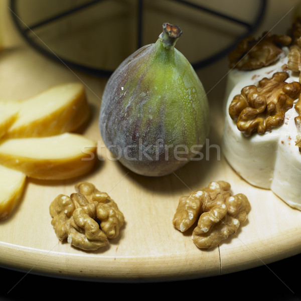 cheese still life with fig Stock photo © phbcz