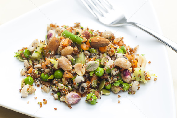 legume salad with almonds Stock photo © phbcz