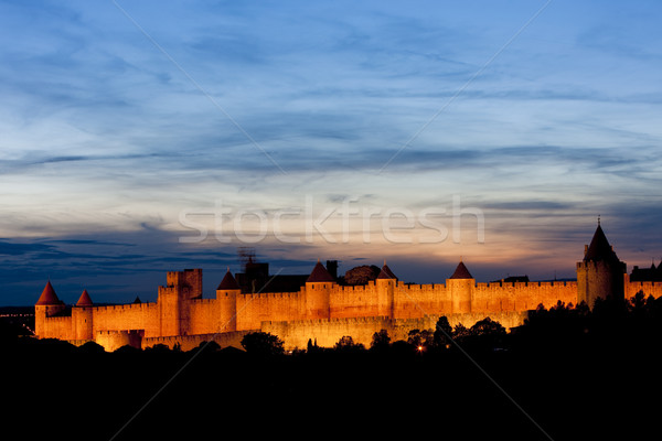 Carcassonne at night, Languedoc-Roussillon, France Stock photo © phbcz
