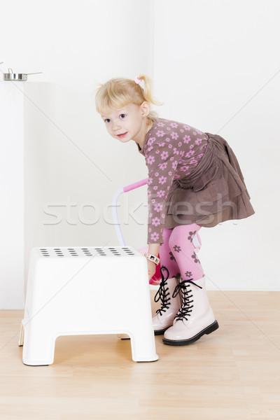 Постоянный девочку стул девушки ребенка Kid Сток-фото © phbcz