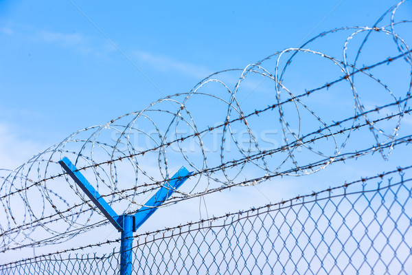 barbed wires at the airport Stock photo © phbcz
