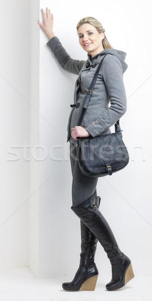 Mujer negro botas bolso Foto stock © phbcz
