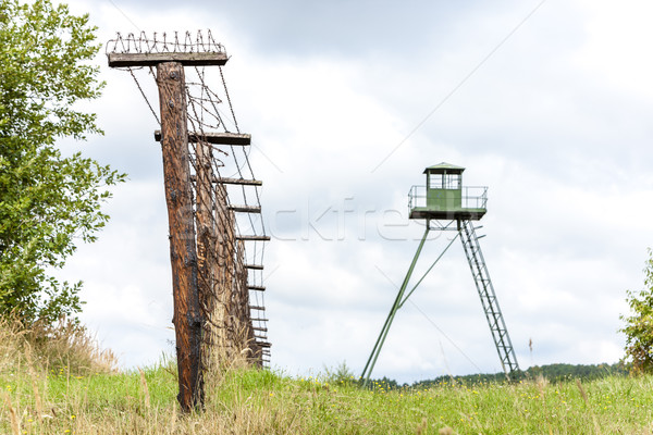 patrol tower and remains of iron curtain, Cizov, Czech Republic Stock photo © phbcz
