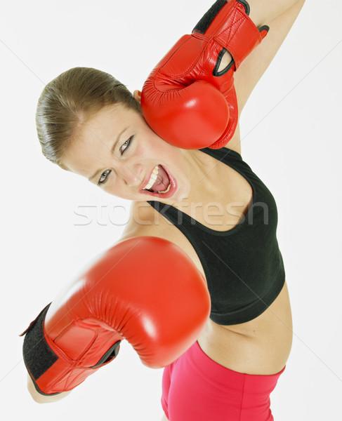 Nő boxkesztyűk fitnessz sportok testmozgás fiatal Stock fotó © phbcz