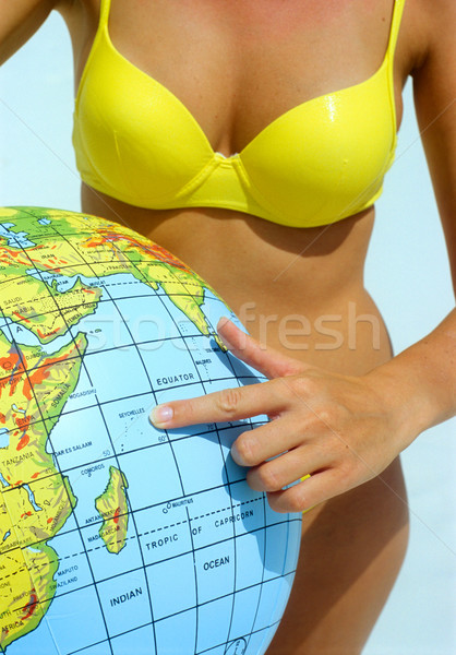 Strandlabda kéz nők bikini labda játékok Stock fotó © phbcz