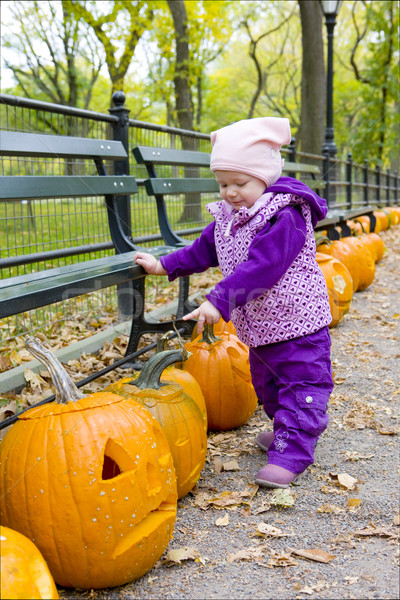 little girl in autumnal Central Park, New York City, USA Stock photo © phbcz