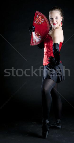 ballet dancer holding a fan Stock photo © phbcz