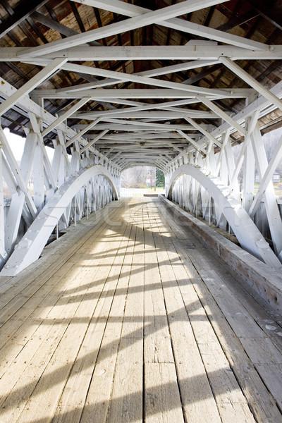 Kapalı köprü New Hampshire ABD inşaat binalar Stok fotoğraf © phbcz