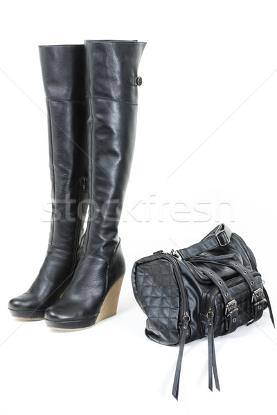 Mode plate-forme noir bottes sac à main style Photo stock © phbcz