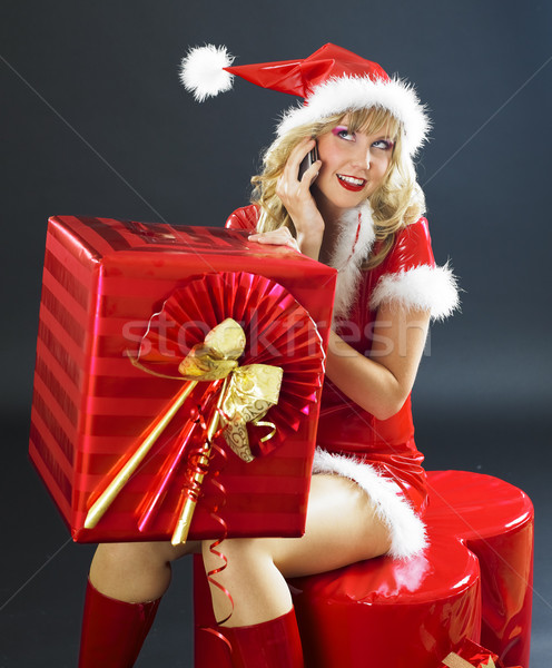 Stockfoto: Roepen · kerstman · christmas · aanwezig · vrouw · telefoon