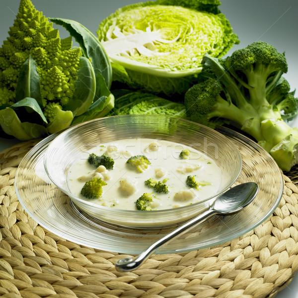 Couve-flor brócolis sopa comida saúde colher Foto stock © phbcz