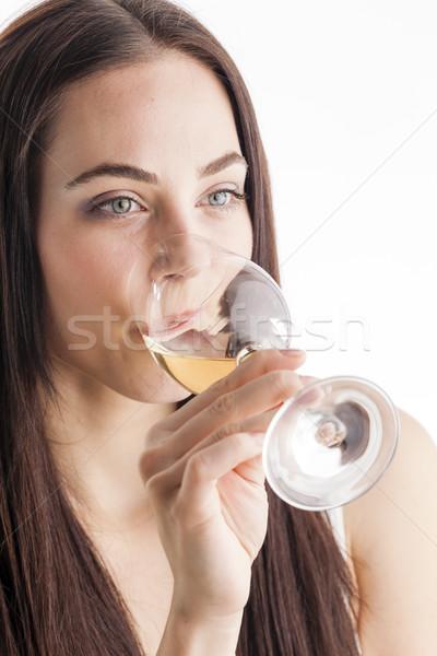 Retrato degustación vino blanco mujer vidrio Foto stock © phbcz