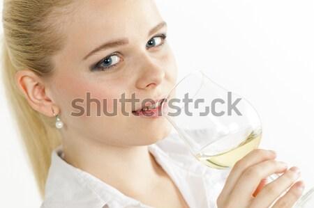 Retrato mujer botella agua jóvenes solo Foto stock © phbcz