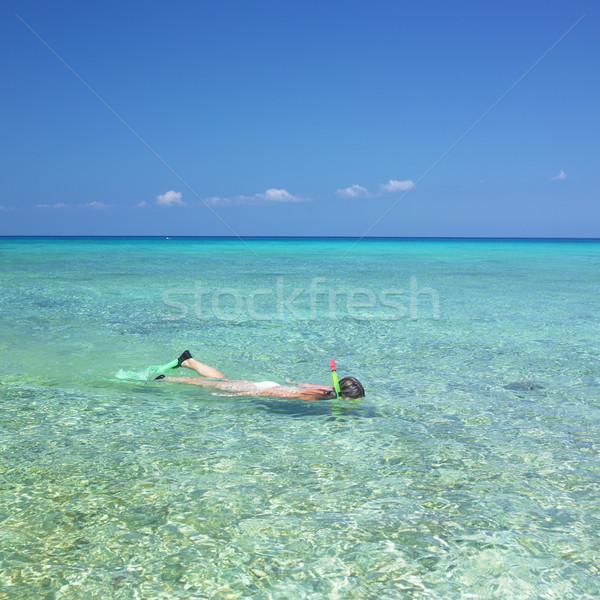 Snorkelen la rio Cuba vrouw zee Stockfoto © phbcz