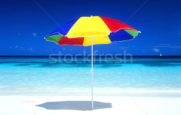 Parasol plaży wody morza parasol wakacje Zdjęcia stock © phbcz