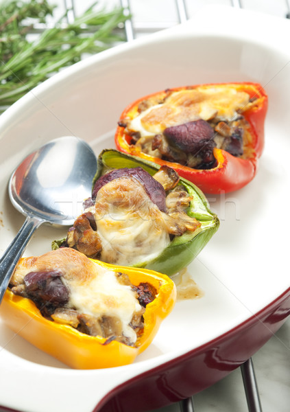 peppers filled with champignons and chicken livres baked with mo Stock photo © phbcz
