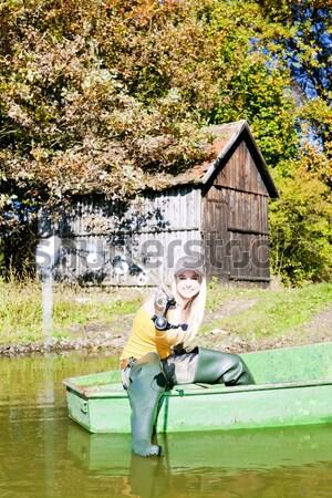 Visser vrouw vergadering boot vrouwen najaar Stockfoto © phbcz