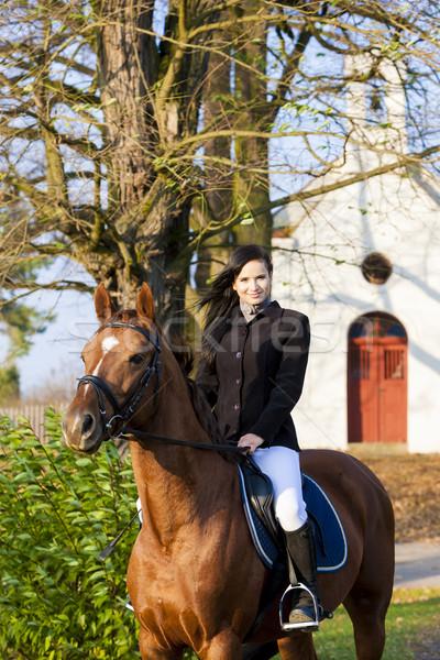 馬に乗って チェコ共和国 建物 女性 馬 ストックフォト © phbcz