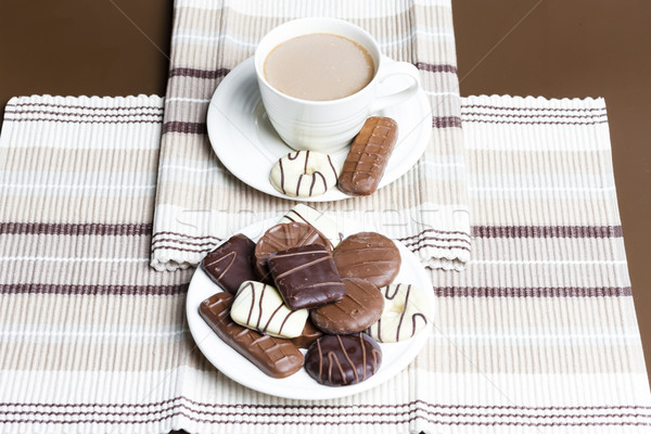 cup of coffee with chocolete biscuits Stock photo © phbcz