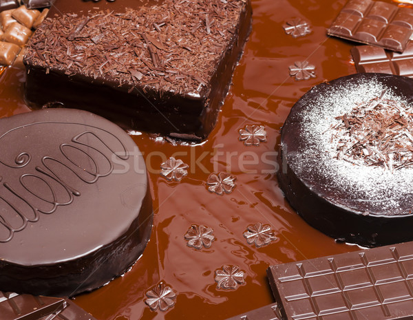 still life of chocolate with Wiener cake and chocolate cakes Stock photo © phbcz