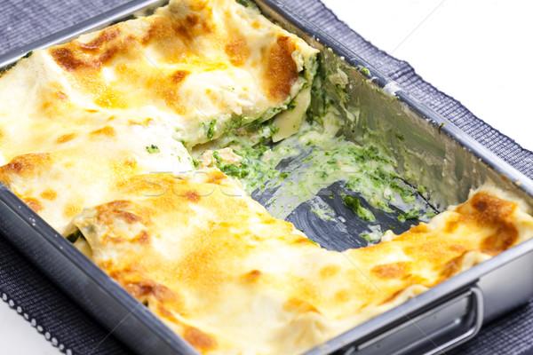 Lasanha salmão espinafre interior refeição dentro Foto stock © phbcz