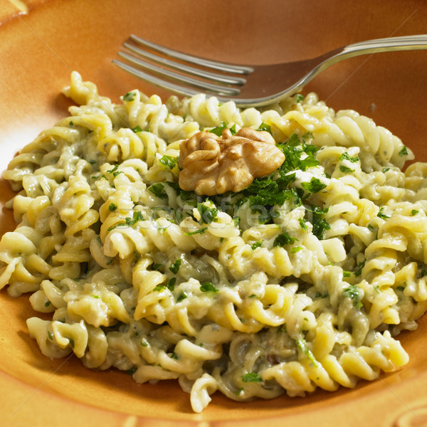 fusilli with sauce from blue cheese and walnuts Stock photo © phbcz