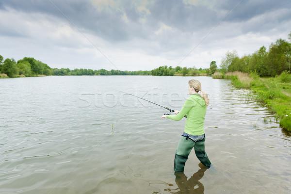 женщину рыбалки пруд спорт женщины сапогах Сток-фото © phbcz