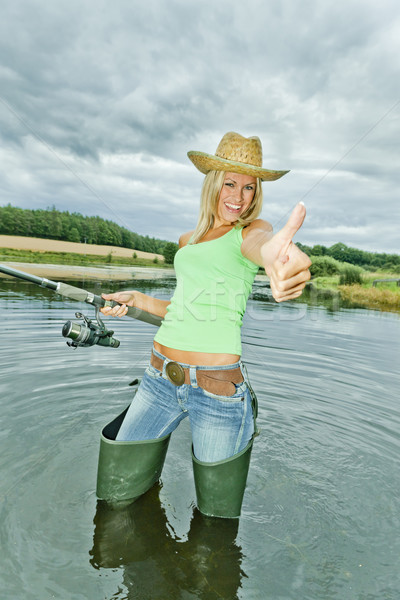 Zdjęcia stock: Kobieta · połowów · staw · sportu · kobiet · uśmiechnięty