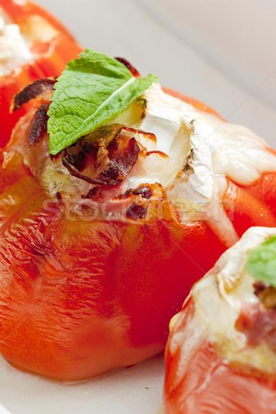 помидоров Сыр из козьего молока сыра пластина овощей Сток-фото © phbcz