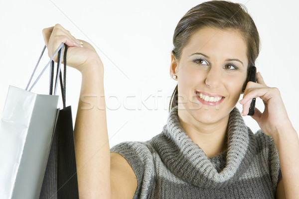 Stock photo: portrait of shopping girl