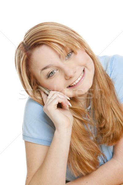 telephoning woman's portrait Stock photo © phbcz